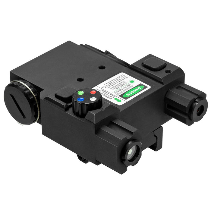 VISM by NcSTAR VLG4NVQRB DESIGNATOR BOX WITH GREEN LASER AND 4 COLOR NAVIGATION LED QUICK RELEASE MOUNT REMOTE PRESSURE SWITCH