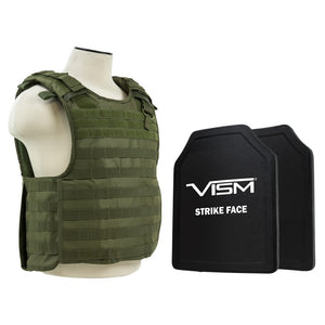 "LEVEL III+ VISM by NcSTAR BPLCVPCVQR2964G-A QUICK RELEASE PLATE CARRIER VEST WITH 11""X14' LEVEL III+ SHOOTERS CUT 2X HARD BALLISTIC PLATES/ GREEN"