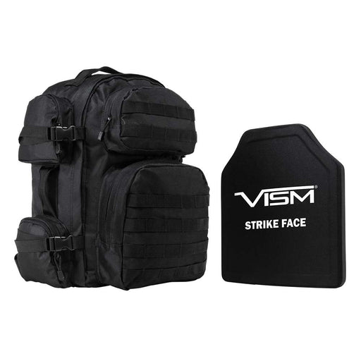 "VISM LEVEL III+ TACTICAL BACKPACK WITH 10""x12"" LEVEL III+ SHOOTERS CUT PE HARD BALLISTIC PLATE/ BLACK"