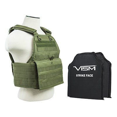 "LEVEL IIIA VISM BSCVPCV2924G-A PLATE CARRIER VEST WITH 10""X12' LEVEL IIIA SHOOTERS CUT 2X SOFT BALLISTIC PANELS/ GREEN"