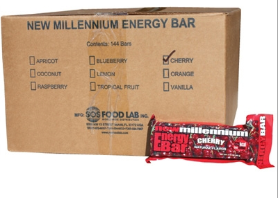 SOS Food Labs SOS-CHERRY-144 Millennium Bars 400-Calorie Cherry Case