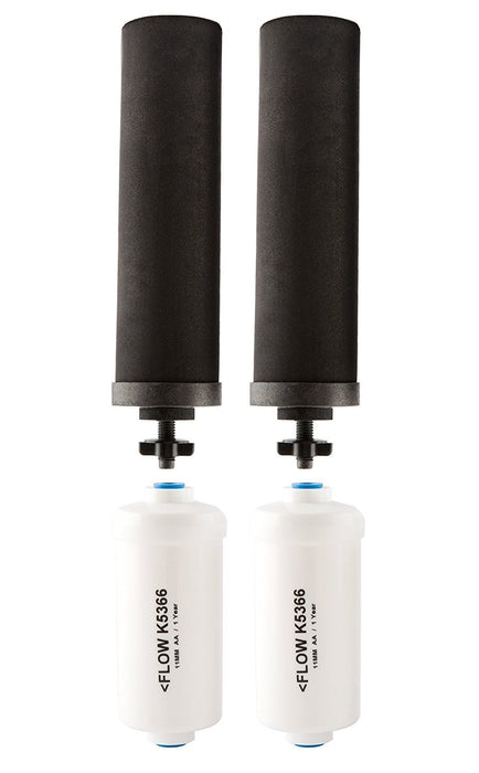 Black Berkey Replacement Filters & Fluoride Filters Combo Pack - Includes 2 Black Filters and 2 Fluoride Filters