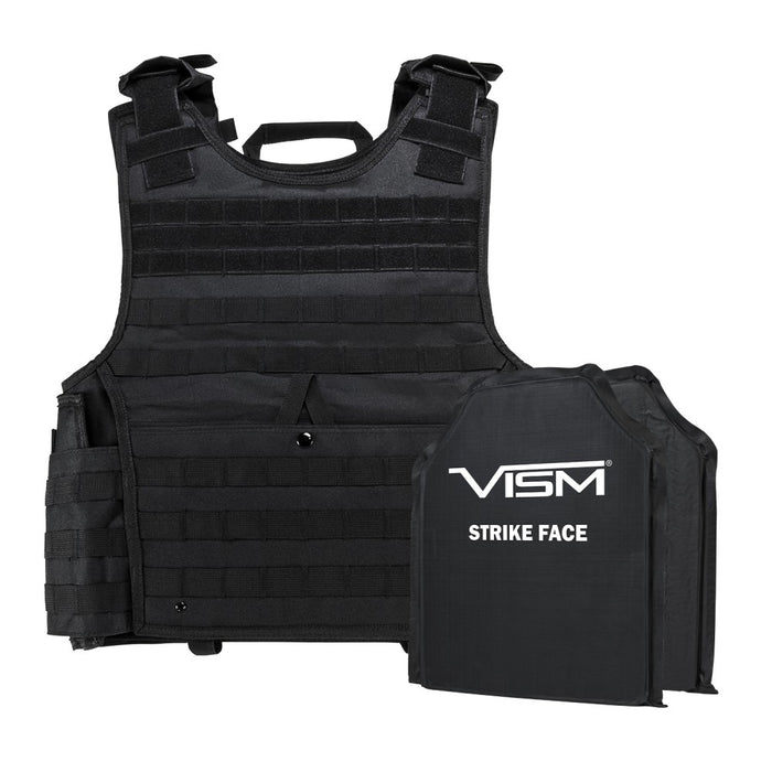 "LEVEL IIIA  EXPERT PLATE CARRIER VEST WITH TWO 10""X12"" RECTANGLE CUT SOFT BALLISTIC PANELS/BLACK/2XL+"