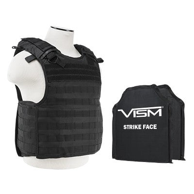 "LEVEL IIIA VISM BSCVPCVQR2964B-A QUICK RELEASE PLATE CARRIER VEST WITH 10""X12' LEVEL IIIA SHOOTERS CUT 2X SOFT BALLISTIC PANELS/ BLACK"