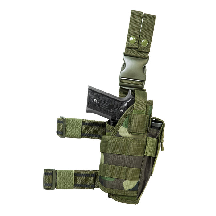 VISM by NcSTAR CVDLHOL2955WC DROP LEG TACTICAL HOLSTER/ WOODLAND CAMO