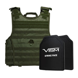 "LEVEL III+ VISM by NcSTAR BPLCVPCVXL2963G-A EXPERT PLATE CARRIER VEST (2XL+) WITH 11""X14"" LEVEL III+ SHOOTERS CUT 2X HARD BALLISTIC PLATES/ EXTRA LARGE/GREEN"