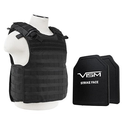"VISM LEVEL III+ BPCVPCVQR2964B-A QUICK RELEASE PLATE CARRIER VEST WITH 10""X12' LEVEL III+ PE SHOOTERS CUT 2X HARD BALLISTIC PLATES/ BLACK"