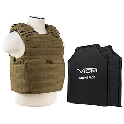 "LEVEL IIIA  EXPERT PLATE CARRIER VEST WITH TWO 10""X12"" RECTANGLE CUT SOFT BALLISTIC PANELS/TAN/2XL+"