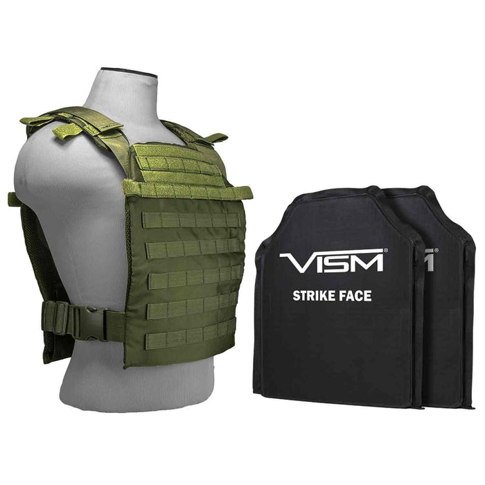 "LEVEL IIIA VISM by NcSTAR LARGER FAST PLATE CARRIER  WITH 11""X14' LEVEL IIIA SHOOTER'S CUT 2X SOFT BALLISTIC PANELS/ GREEN"