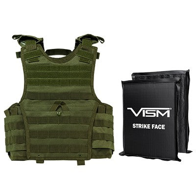 "LEVEL IIIA  VISM BSCVPCVXC2963G-A EXPERT PLATE CARRIER VEST (EXTRA SMALL-SMALL) WITH 8""X10' LEVEL IIIA RECTANGLE CUT 2X SOFT BALLISTIC PANELS/ SMALL/ GREEN"