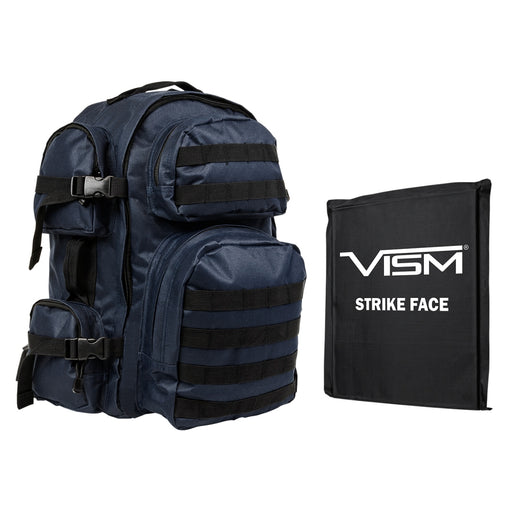 "LEVEL IIIA VISM by NcSTAR BSCBL2911-A TACTICAL BACKPACK WITH 10""x12"" LEVEL IIIA SOFT BALLISTIC PANEL/ BLUE WITH BLACK TRIM"