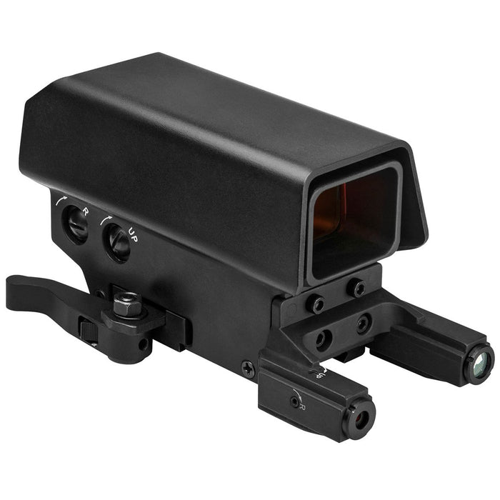 VISM by NcSTAR VDSTNVRLGB Urban Dot Sight with Green Laser and White & Red Navigation LED Lights Cross Grid Reticle Black