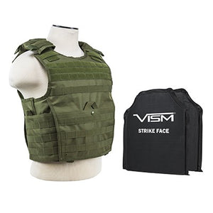 "LEVEL IIIA VISM by NcSTAR BSCVPCVX2963G-A EXPERT PLATE CARRIER VEST (MED-2XL) WITH 10""X12' LEVEL IIIA SHOOTERS CUT 2X SOFT BALLISTIC PANELS/ LARGE/ GREEN"