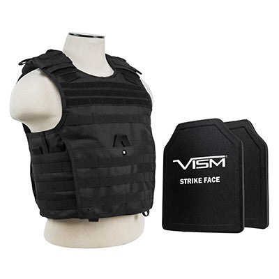 "LEVEL III+ VISM by NcSTAR BPCVPCVX2963B-A EXPERT PLATE CARRIER VEST (MED-2XL) WITH 10""X12' LEVEL III+ PE SHOOTERS CUT 2X HARD BALLISTIC PLATES/ LARGE/BLACK"