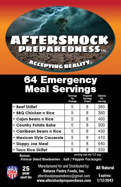 label Aftershock 64 Emergency Meal Servings