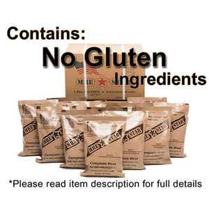 MRE Star Case of 12 Single Complete MRE Meals - Gluten Free Variety with Heaters M-018HNG