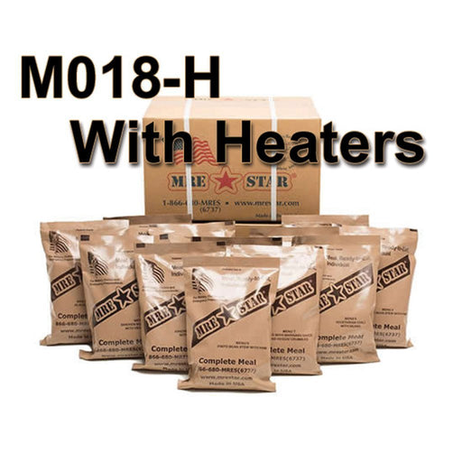 MRE Star Case of 12 Single Complete MRE Meals - Standard Variety with Heaters M-018H