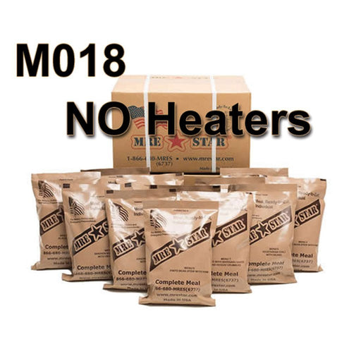 MRE Star Case of 12 Single Complete MRE Meals - Standard Variety without Heaters M-018