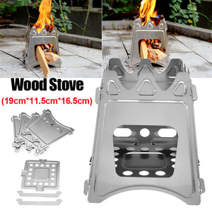 Portable Outdoor Cooking Camping Stainless Steel Wood Stove Burning Backpacking