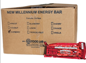SOS Food Labs SOS-RASPBERRY-144 Millennium Bars 400-Calorie Raspberry Case