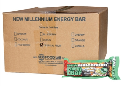 SOS Food Labs SOS-TROPICAL-144 Millennium Bars 400-Calorie Tropical Case