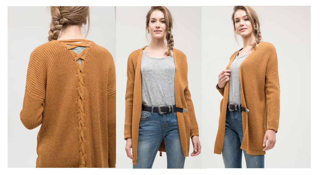 The Endless Summer Chunky Knit Cardigan features a cute lace up detail on the back.