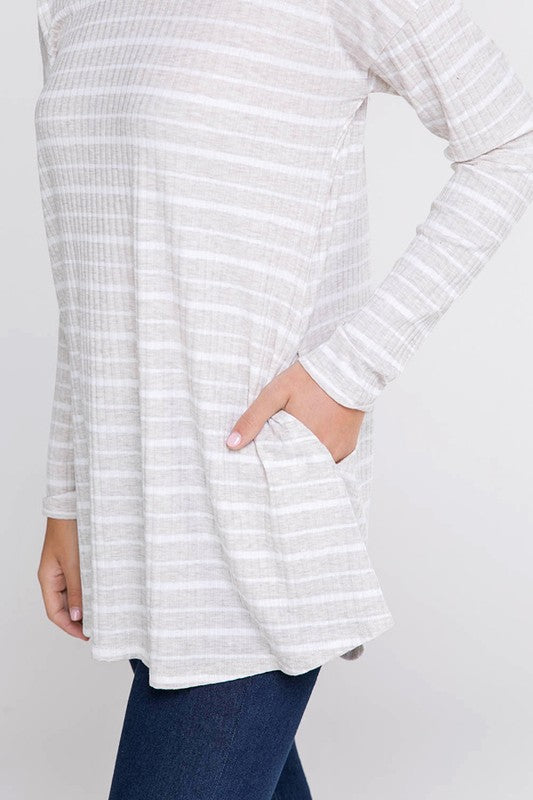 creme ribbed striped knit long sleeves tee with side pockets