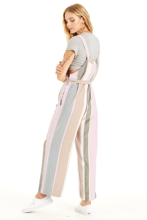 back: Pastel Dreams Jumpsuit pastel stripes, self-tie waist and pockets.