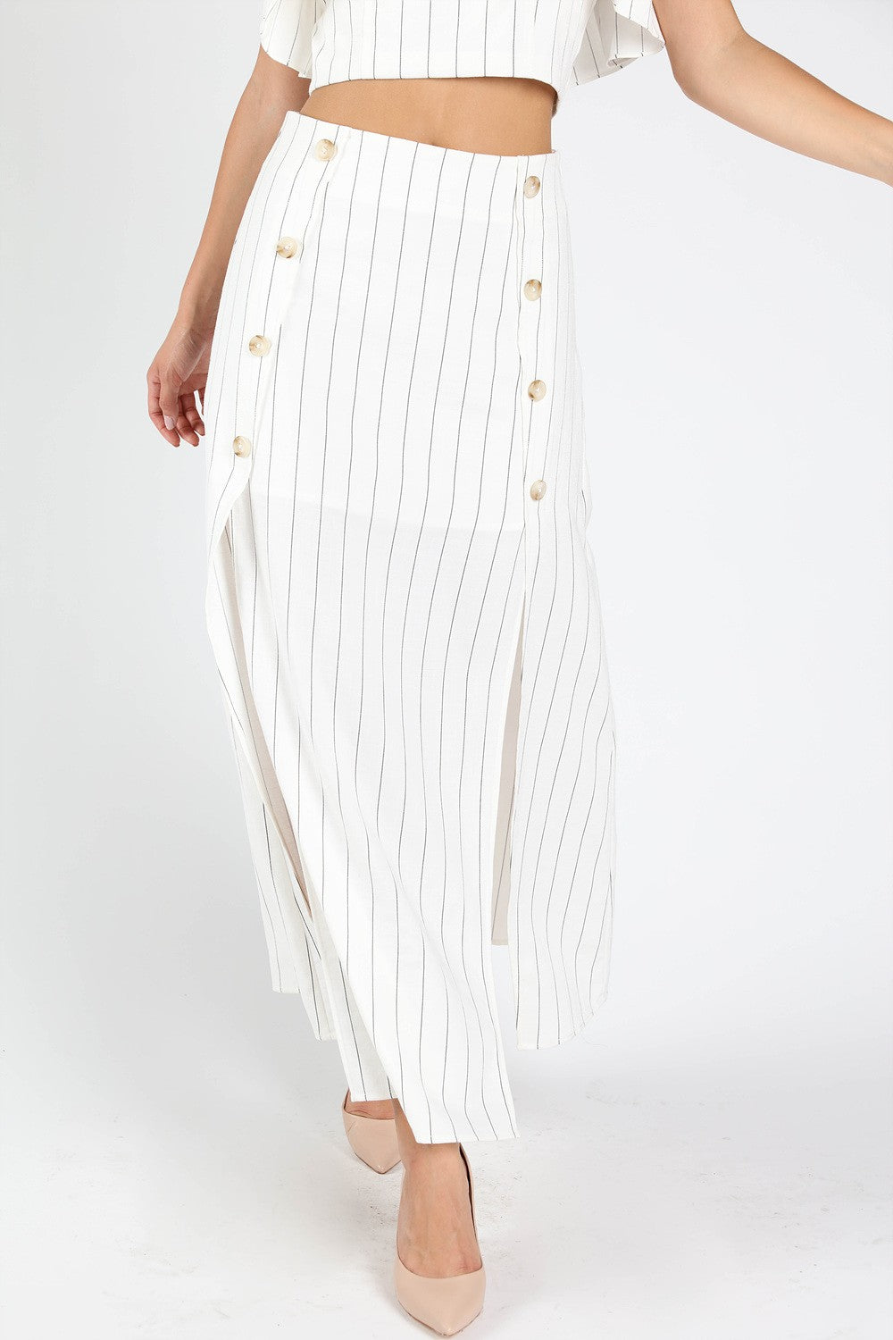 Play Fair White Stripe Maxi Skirt