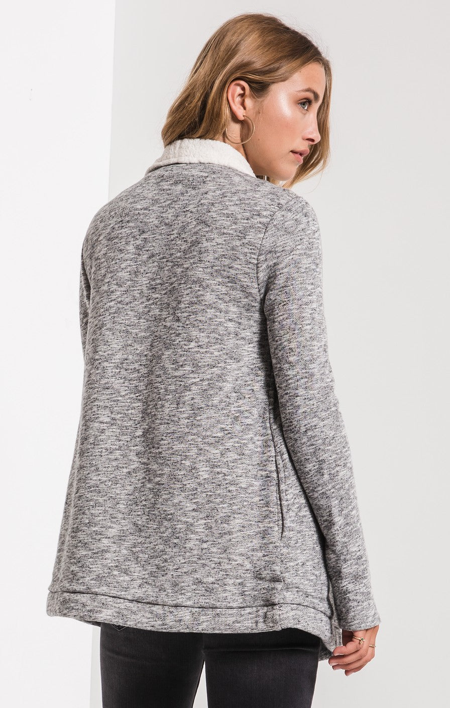 back open-front cardigan with sherpa lining