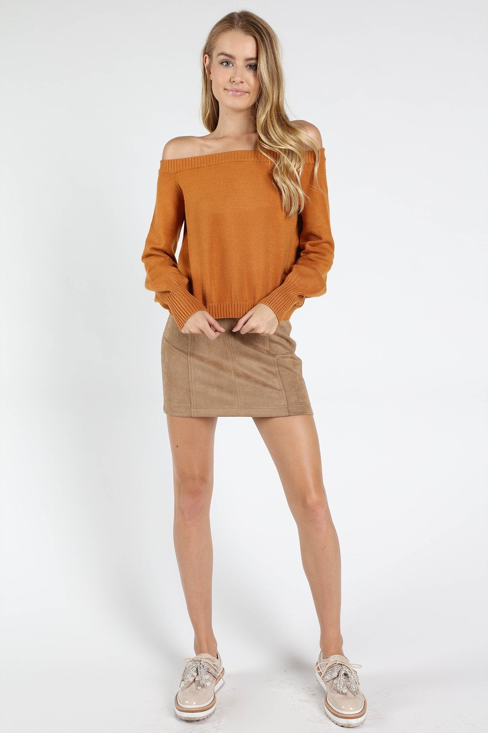 honey off the shoulder long sleeve top