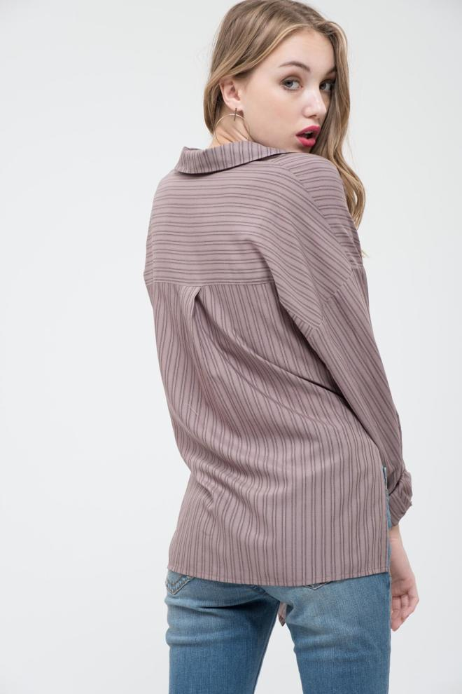 Front tie stripe mocha top with side slits and cuffed sleeves.