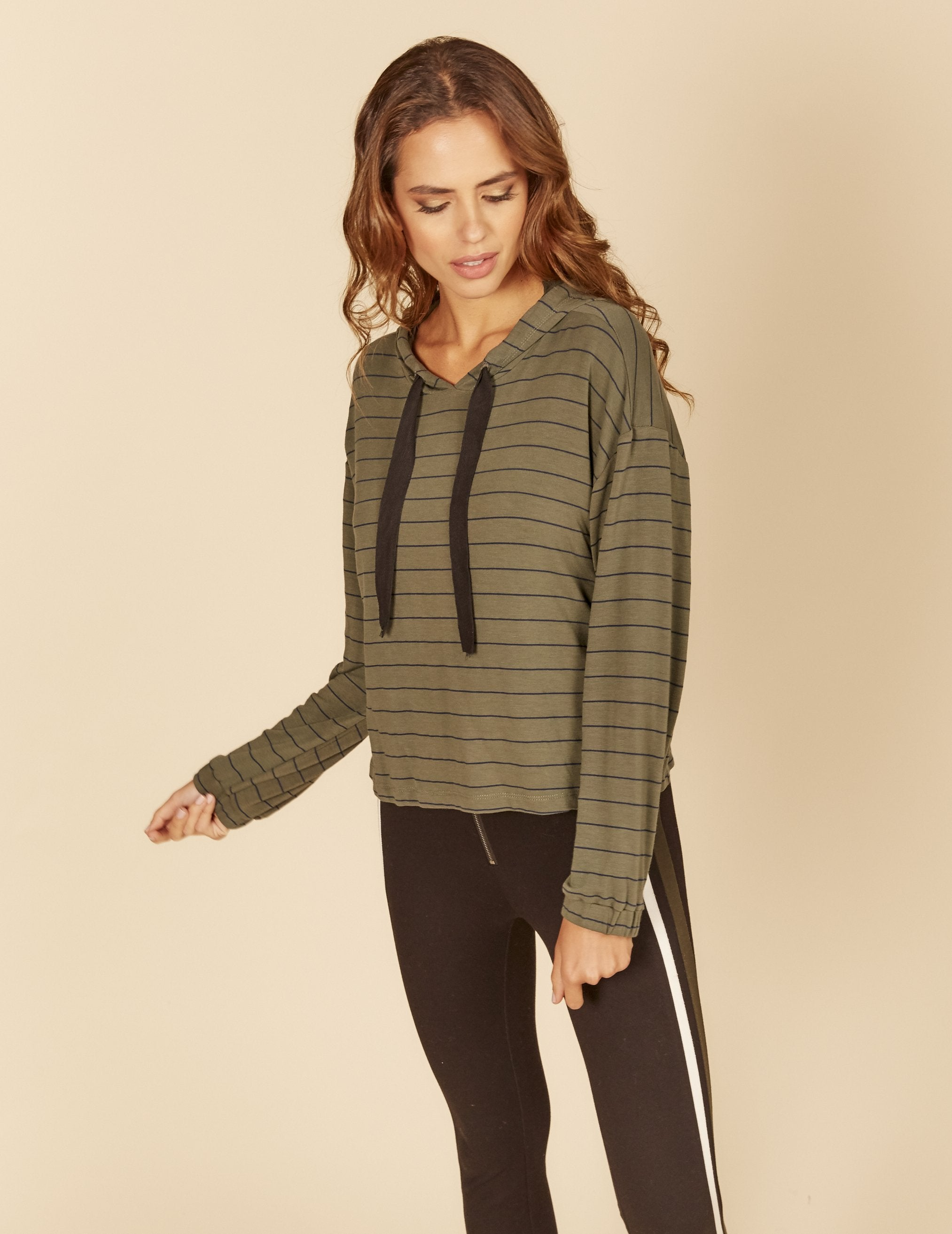 Green striped light weight terry thick cord hoody.