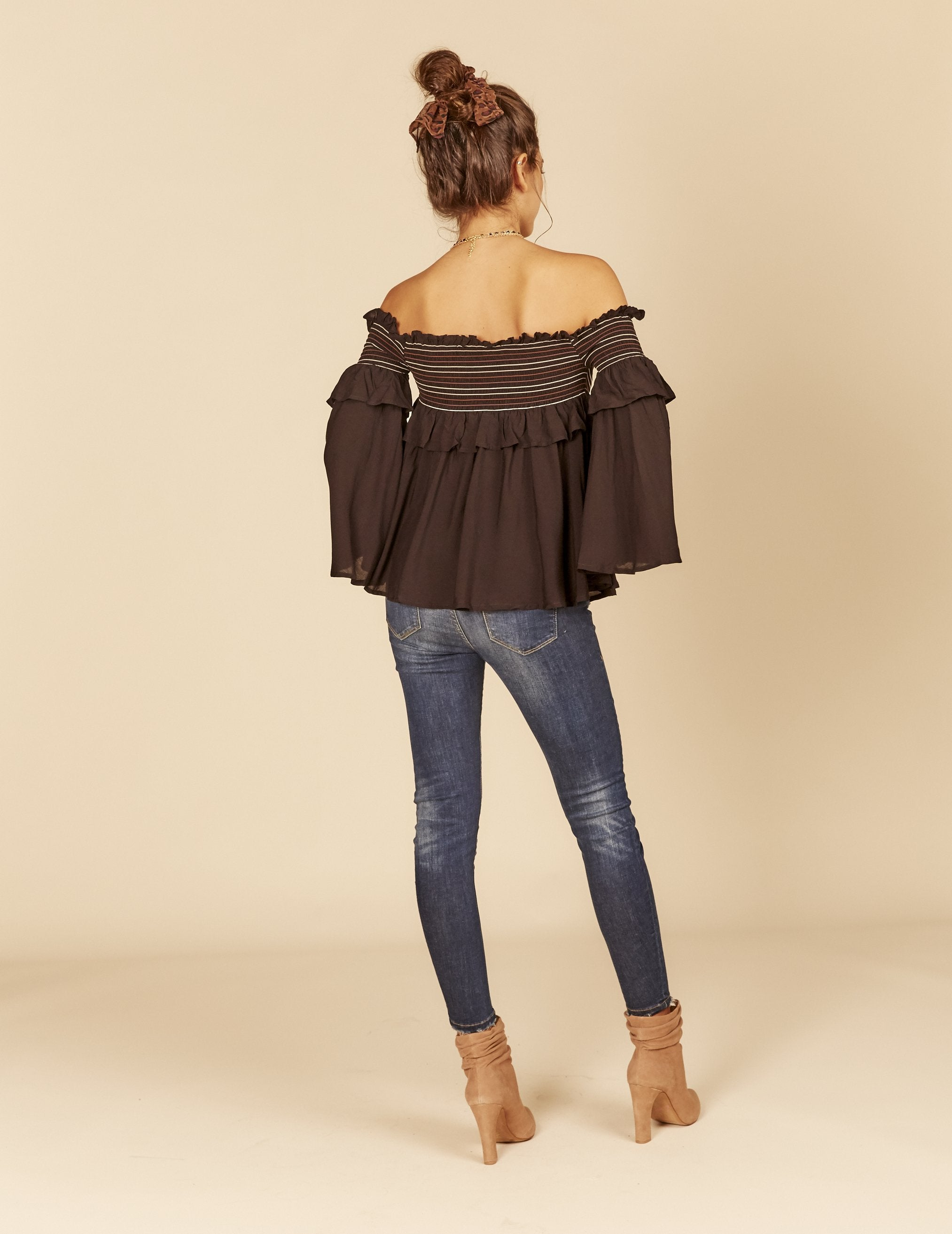 Black Smocked Off Shoulder Top, Off-Shoulder Neckline, 3/4 sleeves