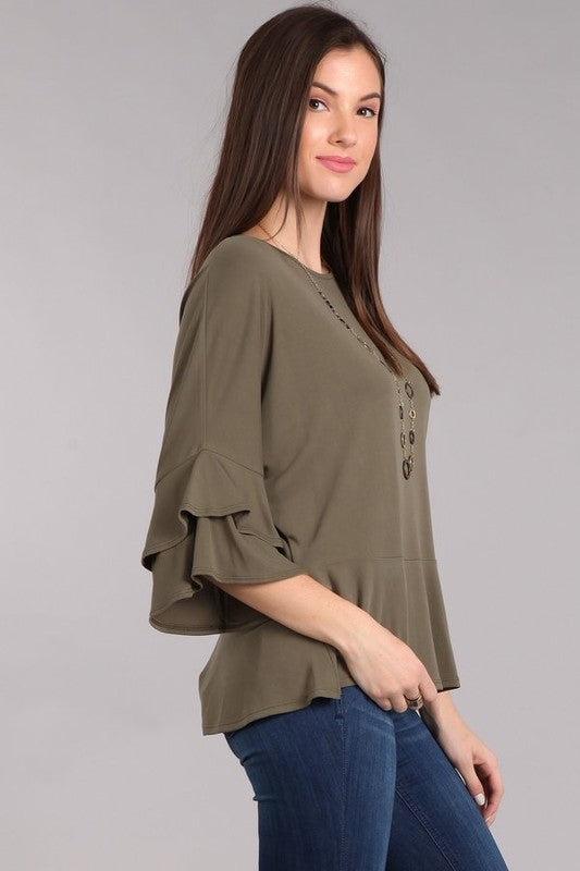 Solid scoop neck olive green top featuring 3/4 bell sleeves with tiered ruffle detailing.