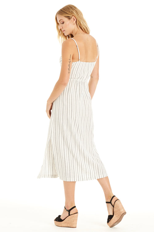 back:  linen dress features a front tie and a striped print