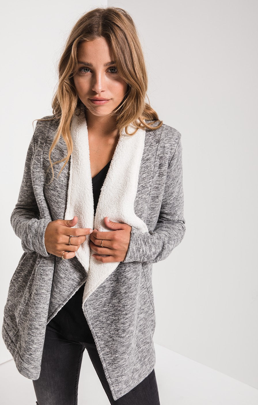 open-front cardigan with sherpa lining
