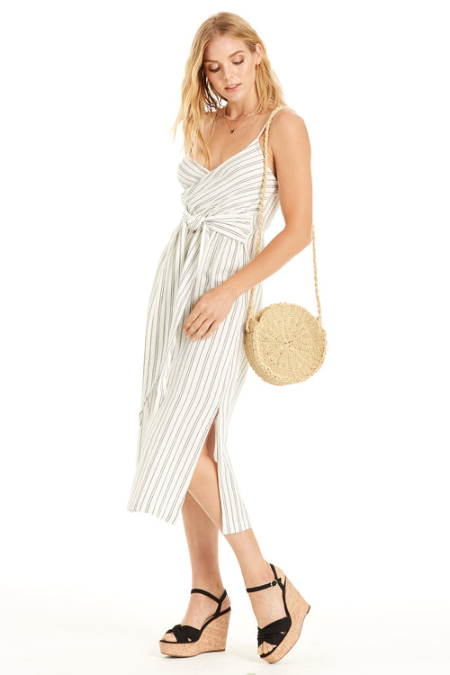 front: linen dress features a front tie and a striped print