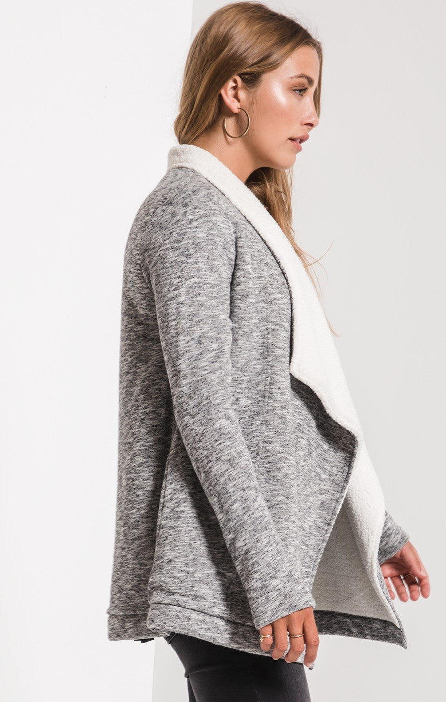 side open-front cardigan with sherpa lining