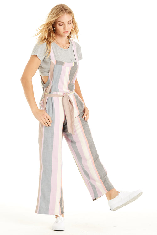 front: Pastel Dreams Jumpsuit pastel stripes, self-tie waist and pockets.