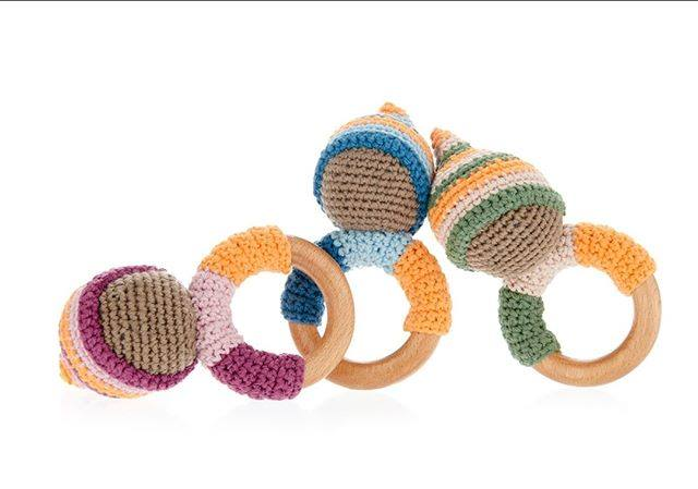 crochet baby wood teething ring rattle from Kahiniwalla