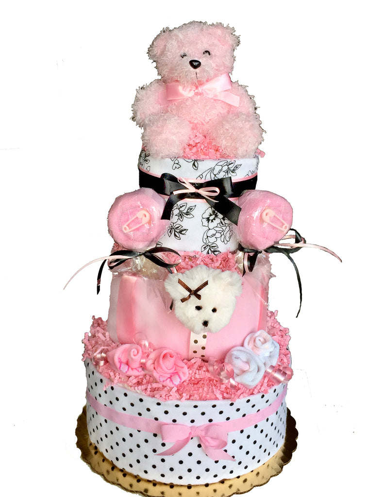 Pink, black and white diaper cake