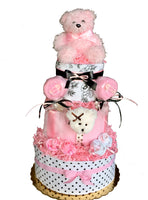 pink black and white diaper cake