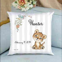 personalized baby gift nursery crib pillow leopard theme
