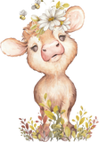 baby cow with flowers for baby gift blanket