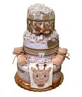 Designer Neutral Gender Diaper Cake in lace and burlap