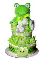 frog diaper cake neutral baby gift