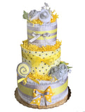 gender neutral yellow and gray diaper cake