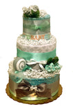 gender neutral green baby diaper cake