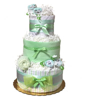 gender neutral mint green diaper cake